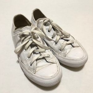 Converse All Star White Leather Sneakers—5